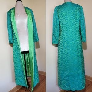 Vintage Silk Two Toned Blue Green Maxi Bed Jacket